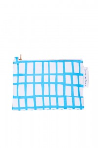 cut out blue square pouch
