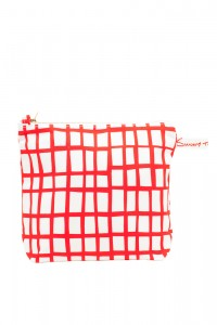 cut out red square wash bag